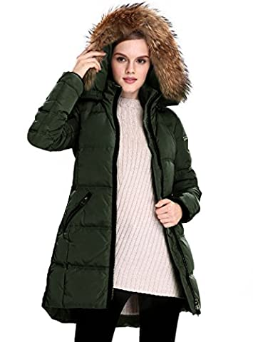 Escalier Women's Down Coat Fur Collar Down Parka Removable Fur Hooded Long Winter Overcoat