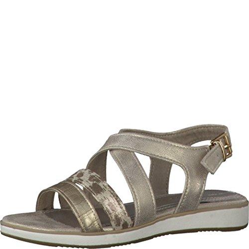 Sandalette gold beige Größe 31 32 33 34 35 36 Synthetik Marco Tozzi 48202 (36)