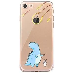 JIAXIUFEN TPU Gel Silicone Protettivo Skin Custodia Protettiva Shell Case Cover Per Apple iPhone 7 - Divertente Capriccioso Design Dinosaur and Rabbit