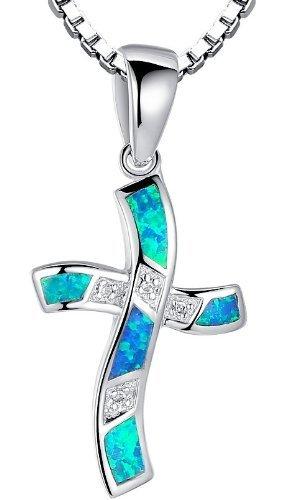 Collana con pendente da donna croce ricci con blu e verde opale di fuoco in argento sterling e zirconia cubica, catenina veneziana da 46 cm - sc034n46