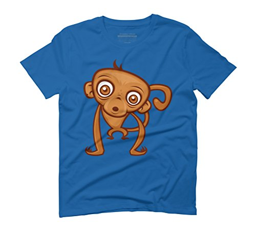 Cartoon Monkey Men's Graphic T-Shirt - Design By Humans Royal Blue