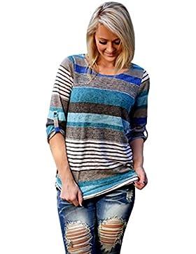 FEITONG Manera de Las Mujeres Blusa Suelta Casual de Las Señoras Camiseta de Las Tapas