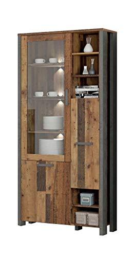 FORTE Vitrine in trendigem Industrial Look, Old Wood Vintage Dekor und Beton dunkel, One Size
