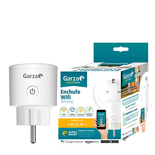 Garza Smart Plug Enchufe Wifi Alexa, 52 x 52 x 85mm, Blanco