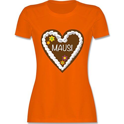 Oktoberfest Damen - Lebkuchenherz Mausi - tailliertes Premium T-Shirt mit Rundhalsausschnitt für Damen Orange
