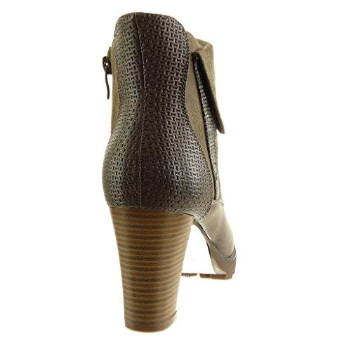 Angkorly Scarpe Da Donna Stivaletti - Stivali Da Equitazione - Cavalier - Biker - Bi-materiale - Intrecciato - Tacco Largo Di Pelle Di Serpente Tacco Alto 8 Cm Kaki