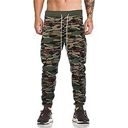 Alaso Homme Ceinture élastique à Long Coton Jogging Pantalons de survêtement Plus la Taille Mode Sport Cargo Pantalons avec Poches Joggers Activewear Pantalons