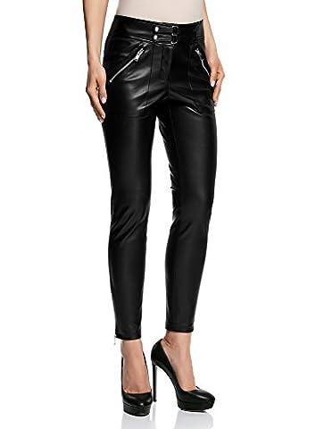oodji Ultra Femme Pantalon en Similicuir avec Zips, Noir, FR 42 / L