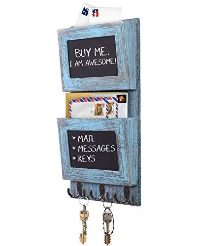 Comfify Rustikaler 2-Fach-Postsortierer für die Wand mit Kreidetafelfläche & 3 Doppel-Schlüsselhaken - Wandhalterung aus Holz - Wanddekor für den Eingangsbereich aus Paulownia-Holz - Rustikalblau