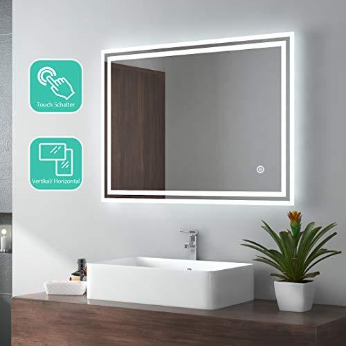 EMKE LED espejo de baño 80x60cm espejo de baño con iluminación frío blanco espejo iluminado espejo...