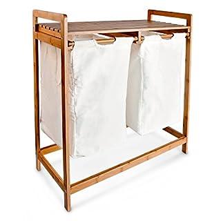 Relaxdays 10016332  Panier à linge corbeille 2 compartiments bambou sacs en toile blanc amovibles Poignées tri capacité 60 L, blanc et marron