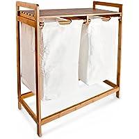 Relaxdays - Cesto para la ropa, con 2 sacos, bambú y textil, almacenamiento colada, 2 compartimentos, color natural