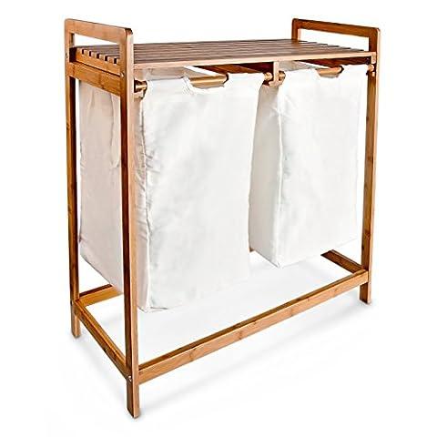 Relaxdays Panier à linge corbeille 2 compartiments bambou sacs en toile blanc amovibles Poignées tri capacité 60 L, blanc et marron