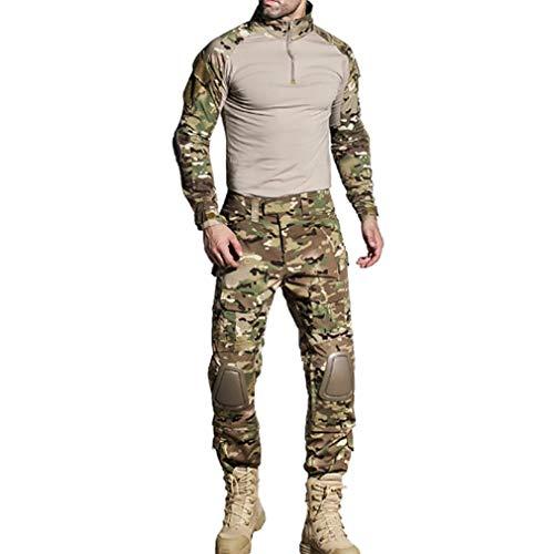 Combat Uniform Hose (Herren Sportbekleidung Tactical Passt Military Combat Uniform Lange Ärmel Shirt Hose Frosch Trainingsanzug Tarnung Sportanzug Kniepolster Sportanzug Military)