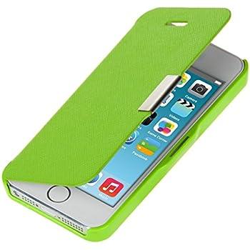 kwmobile Hülle für Apple iPhone SE / 5 / 5S - Bookstyle Case Handy Schutzhülle Kunststoff - Flipcover Klapphülle Grün