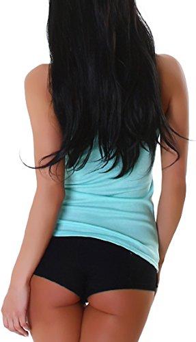 Voyelles femme college-style débardeur avec imprimé (32–38) Turquoise / Minzgrün