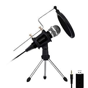 XIAOKOA 3.5mm USB PC Mikrofon für Computer und Telefon, Plug & Play Handy Mikrofon für Recording,Gaming,Podcasting,Online Chatten wie Facebook, MSN, Skype, mit Soundkarte