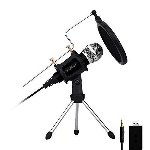 Kondensator Mikrofon,XIAOKOA Handy Mikrofon,3.5mm USB PC Mikrofon für Computer und Telefon, für Recording,Gaming,Podcasting,Online Chatten wie Facebook, MSN, Skype