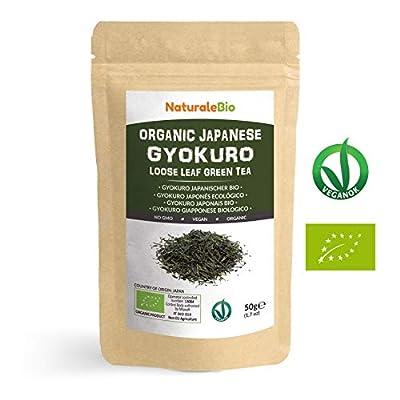 Thé vert Gyokuro Japonais Bio de 50g   100 % Bio, Naturel et Pur, Thé vert en vrac de première récolte cultivée au Japon   Organic Japanese Gyokuro Green Tea   NATURALEBIO