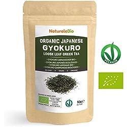 Té verde Gyokuro Japonés Orgánico de 50g | 100% Bio, Natural y Puro, Té verde en hojas provenientes de la primera cosecha cultivado en Japón | Organic Japanese Gyokuro Green Tea | NATURALEBIO