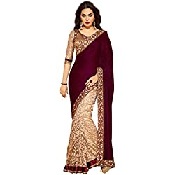 Sarees (Women's Clothing Saree For Women Latest Design Wear Sarees New Collection in MAROON Coloured VELVET Material Latest Saree With Designer Blouse Free Size Beautiful Saree For Women Party Wear Offer Designer Sarees With Blouse Piece)