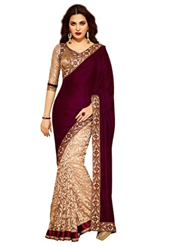 Sarees (Women\'s Clothing Saree For Women Latest Design Wear Sarees New Collection in MAROON Coloured VELVET Material Latest Saree With Designer Blouse Free Size Beautiful Saree For Women Party Wear O