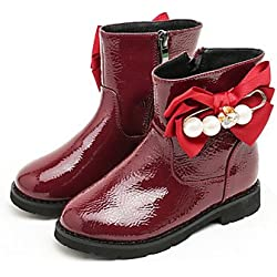 f67ffbd51 kekafu Las niñas zapatos Charol moda otoño invierno pelusas Forro Botas botines  botas Bota Botines