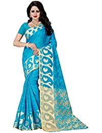 FAB BRAND Self Design Cotton Silk Firozi Color Saree For Women With Blouse Piece