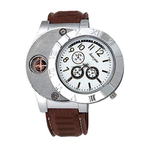 Holeider Quarz Uhr Armbanduhr,Luxus Multifunktions Militär USB Zigarette Zigarre Flammenlos Feuerzeug (Brown)