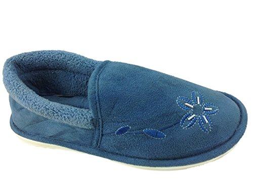 Mesdames Dunlop doublée en polaire pour un confort chaud fleur antidérapant sur Maison Chaussons Chaussures Taille 3–8 Bleu - bleu