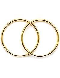Pendientes de aro Arranview Jewellery lisos, de Oro de 9K, 12mm, 1 par