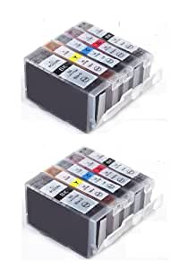 Canon CLI521, PGI520, WITH CHIP - Multipack x2 Sets of 5 Canon Compatible Printer Ink Cartridges for CANON PIXMA iP3600 iP4600, iP4700, MP540, MP550, MP560, MP620, MP630, MP640, MP980, MP990, MX860 Printer Inks - (Contains: 2x PGI-520BK, 2x CLI-521BK, 2x CLI-521C, 2x CLI-521Y, 2x CLI-521M)