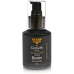 BEARDHOOD Beard & Hair Growth Serum | Growth Boosters - Biotin, Ginseng Extract, Saw Palmetto Extract & Argan Oil | Sulfate & Paraben free, No Harsh Chemicals