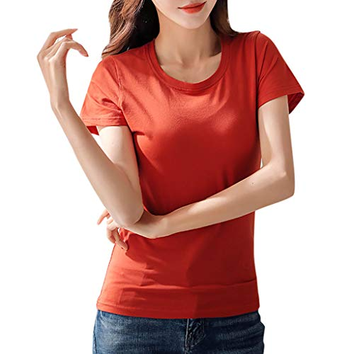 CUTUDE Damen T Shirt, Bluse Kurzarm Sommer Frauen Rundhals Volltonfarbe Kurzarm Top (Rot, Small) -