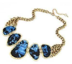 Blue Stone Chunky Gold Fashion Statement Necklace Jewellery With Chain Link