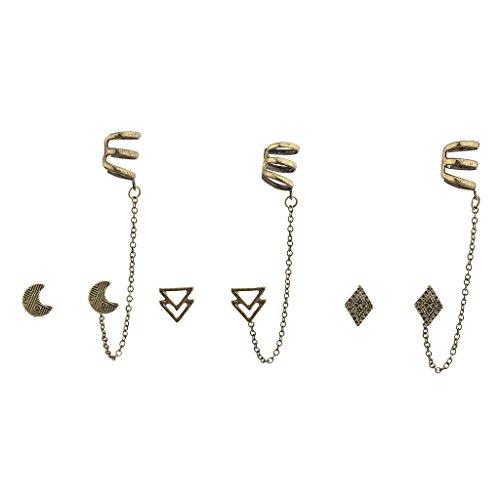 LUX Zubehör brüniert Gold Boho Multi Ohrring Ohr Manschette Set (Martini Kostüme)