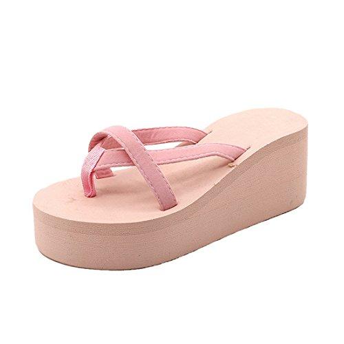 Shujin Damen Sommer Strand Sandalen Pantoletten Bequeme Hausschuhe Flip Flops Hoch Absatz Knöchelriemen Zehentrenner Indoor Outdoor Slipper
