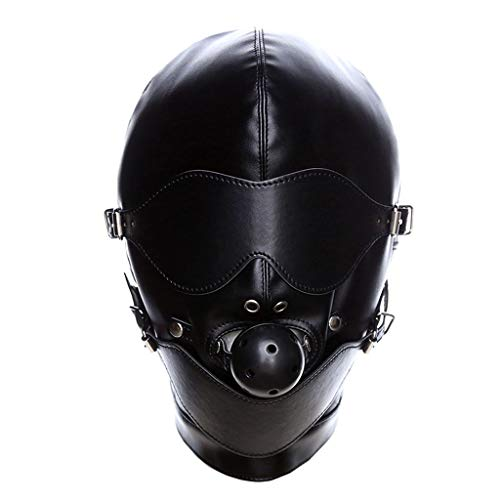 TINGSHOP Latex Kopfmaske Offenes Auge Mundplug Fetisch Erotische Kleidung Einschränkungen Abnehmbare Augen Und Mund Erwachsene Bondage-Leidenschaft Alternatives Spielzeug Schwarz -