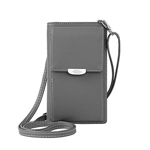 HMILYDYK Frauen Brieftasche Cross-Body Tasche Leder Geldbörse Handy Mini-Tasche Kartenhalter Schulter Brieftasche Tasche, Gray - Tasche Brieftasche