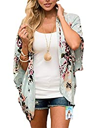 1d94741c1cd57 Digitek Direct Women Chiffon Loose Shawl - Chiffon Floral Print Kimono  Cardigan Cover Up Boho Summer