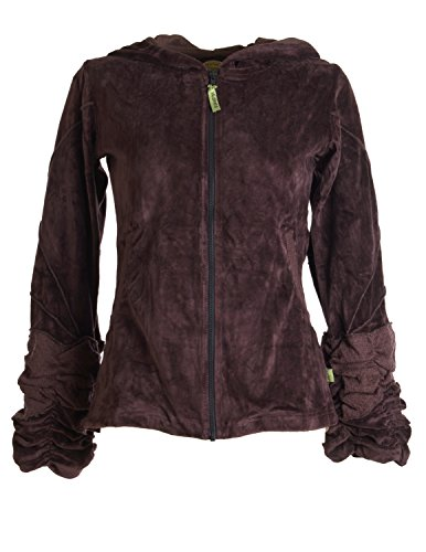 Vishes - Alternative Bekleidung - kuschelige Samtjacke mit extra großer Kapuze braun 36