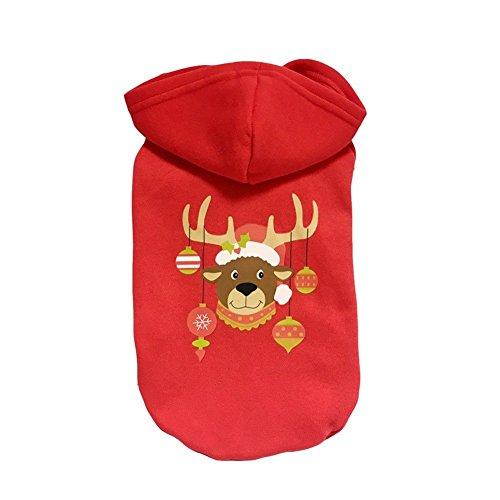 zoonpark® Hund Kleidung, Weihnachten Baumwolle Haustier Kleidung Winter Hoodie T-Shirt Coat Rot Kleidung für kleine oder Mittelgroße Hunde Pet Kleidung Chihuahua Yorkshire Pudel (Katze Pikachu Kostüm Die Für)