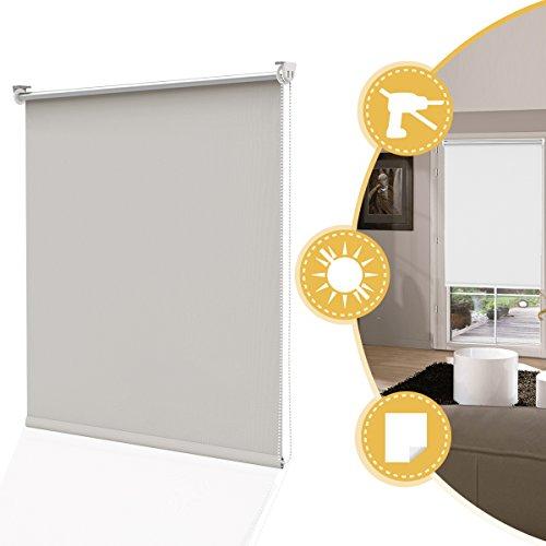 Deswell tende a rullo oscurante per interni beige 70 x 160 cm (lxa, tenda rullo avvolgibile rivestimento termico montaggio senza fori