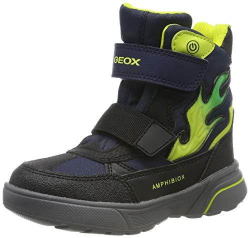 Geox J SVEGGEN Boy B ABX D, Botas de Nieve para Niños, Azul Navy/Lime Green Cf43s, 24 EU