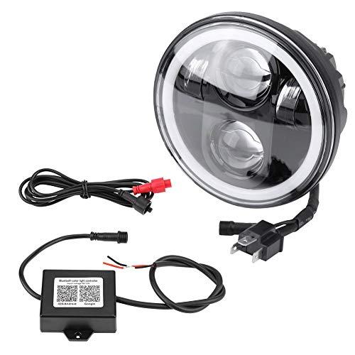 """KIMISS RGB 5.75"""" 40W Rund Motorrad Scheinwerfer [Bluetooth-Steuerung], Angel Eyes LED Scheinwerfer Update-Version für Harley-Davidson [6 Lichtfarben]"""