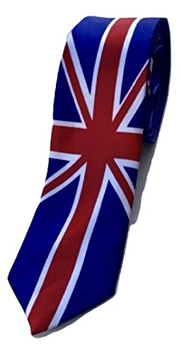 L & L Unisex Britische Union Jack-Flagge bedruckt schmale Krawatte Kostüm handgefertigt in Großbritannien - Königsblau, One size