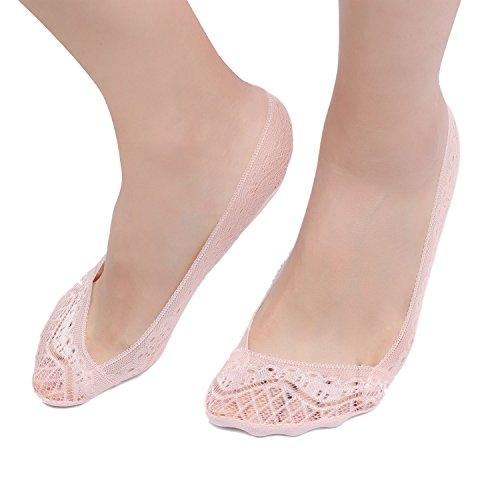 Zeltauto Women's Invisible Lace Socks Non Slip No Show Shoe Liner 4 Pairs
