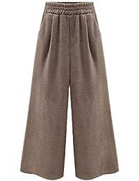 YAANCUN Mujer Pantalón de Tallas Grandes Pierna Ancha Pantalones Cropped Color Sólido Relaxed Elegante Pantalones