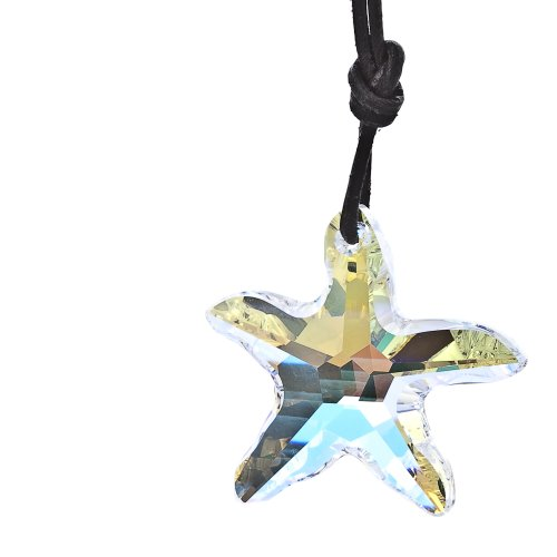 Kristallwerk, Damen Lederkette mit 40mm SWAROVSKI ELEMENTS Seestern Pendant in der Farbe Crystal Aurore Boreale