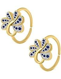 Araska Diamond White & Blue Sapphire 14K Yellow Gold Finish Women's Fashion Adjustable Toe Ring